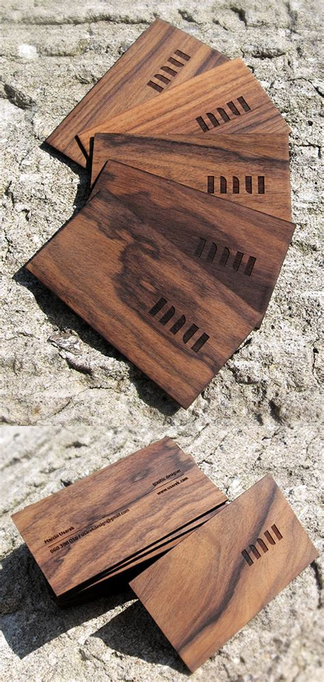 perfectly carved wooden business card designs creative