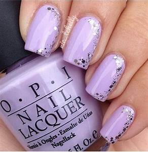 Light purple nails, Silver glitter and Glitter on Pinterest