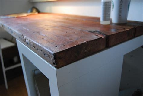 Ikea Desk Top Wood by How To Create A Reclaimed Wood Desk With An Ikea Basis