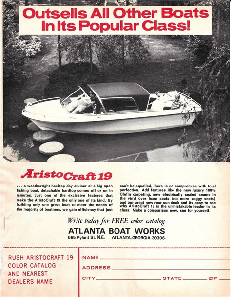 Atlanta Boat Works by 1971 Atlanta Boat Works Ad The Aristocraft 19