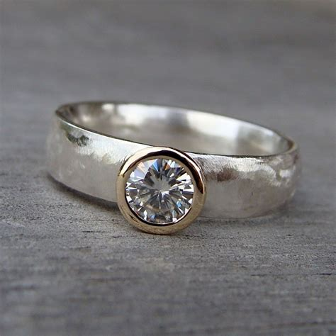 hand crafted moissanite recycled 14k gold and recycled