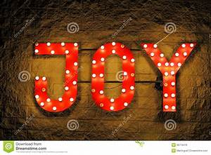 Red illuminated sign joy stock photo image of display for Lighted letters joy