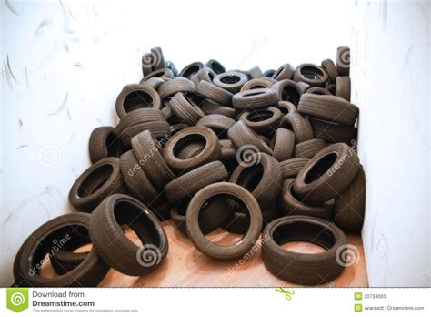 Different Old Car Tires Stock Photos