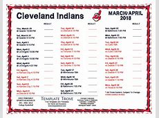 Printable 2018 Cleveland Indians Schedule
