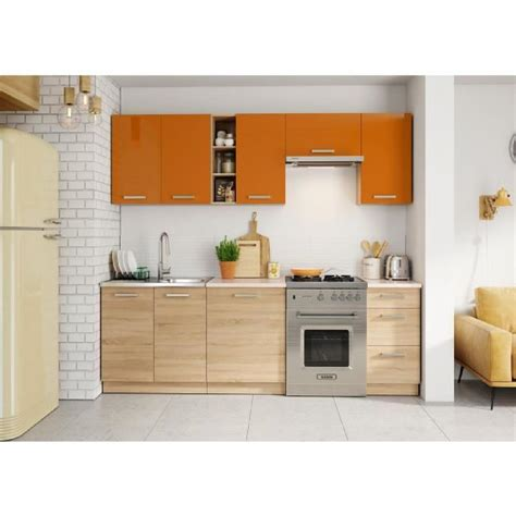 cuisine m cuisine lena 2m40 7 meubles orange beige achat