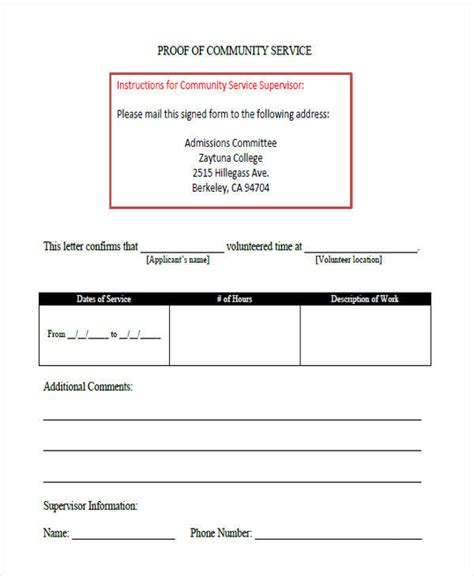 proof of service template 39 service letter formats sample templates 24146   Proof of Community Service Letter