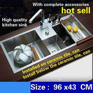 Free Shipping Deluxe Kitchen Sink Manual Double Channel