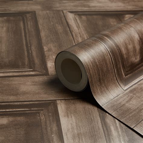 fine decor choc wood panel wallpaper departments diy