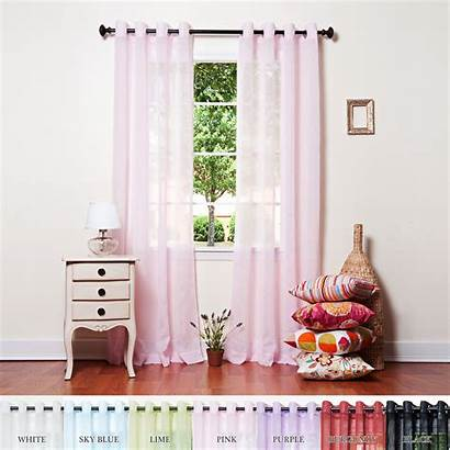 Curtains Sheer Bronze Voile Crushed Grommet Panels