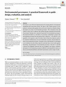 Pdf  Environmental Governance  A Practical Framework To Guide Design  Evaluation  And Analysis