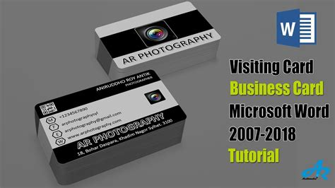 ms word tutorial unique photographer visiting card  ms word  business card  word