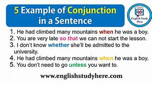 5 Examples Of Conjunction Sentences