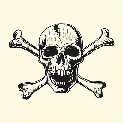 Vector Skull Bones Linocut Vectors Sign Graphics