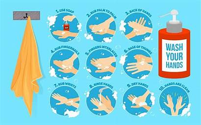 Washing Steps Hands Vector Wash Hand Instructions