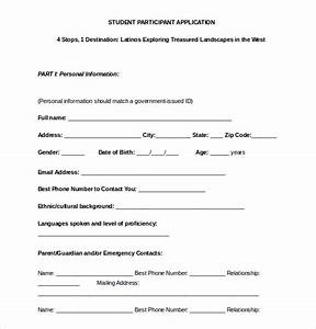 15 college application templates pdf doc free With participant registration form template