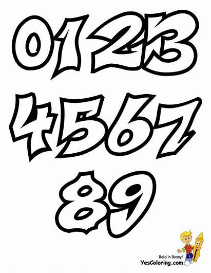 Graffiti Numbers Coloring Pages Letters Alphabet Yescoloring