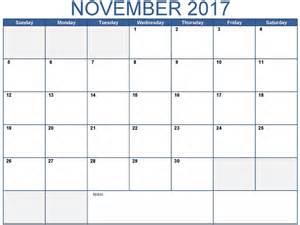 October November Calendar 2017