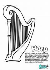 Harp Coloring Instruments Musical Instrument String Educational Resources Kunjungi Shammie sketch template