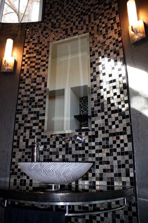 black silver mosaic tile accent wall  powder room hgtv