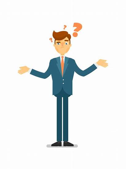 Businessman Question Asking Character Doubtful Premium Vector