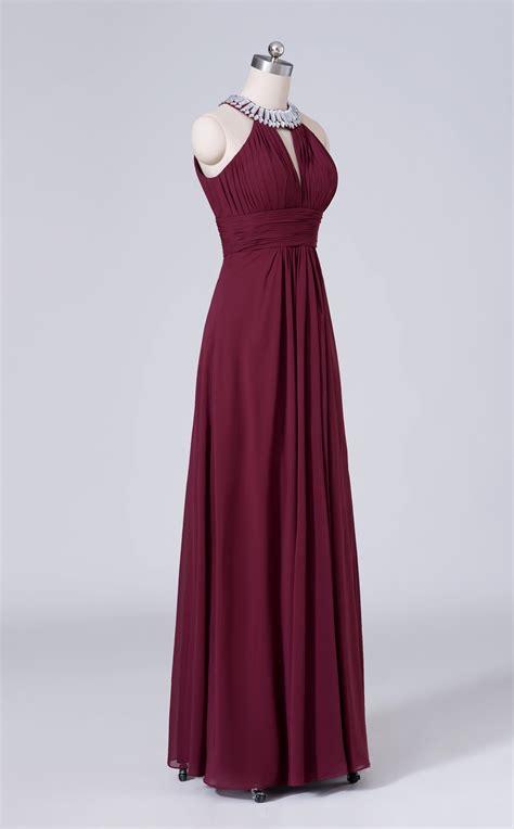red  neck long chiffon bridesmaid dress bd ca
