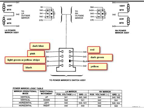 2000 Ford Explorer Side Mirror Wiring Diagram by I Need The Pin Out Diagram For Power Mirror Switch On A