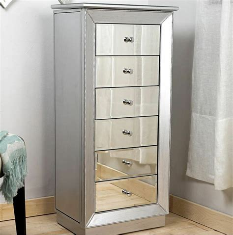 Jewelry Cabinet Armoire by Mirrored Jewelry Armoire Large Standing 6 Drawer Silver