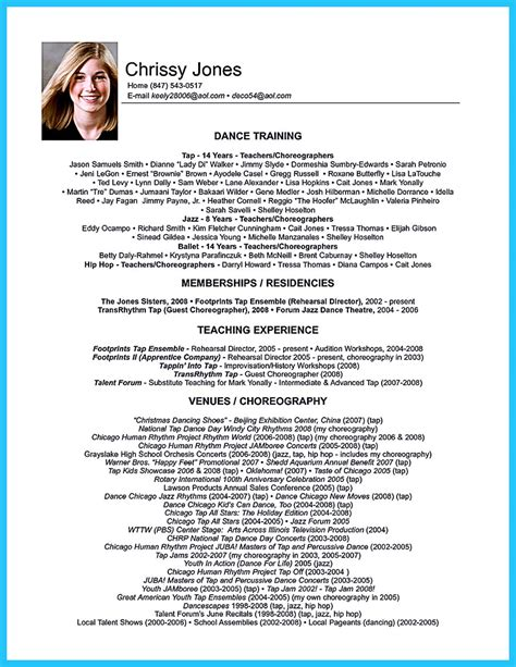 impressive dance resume examples collections