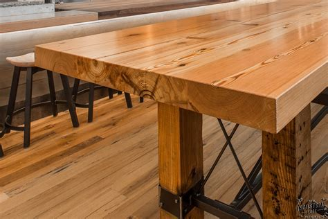 Community Tasting Table / Reclaimed Heart Pine & Steel