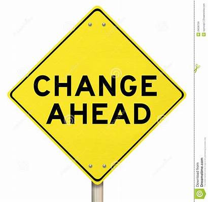 Change Ahead Sign Warning Yellow Isolated Changing
