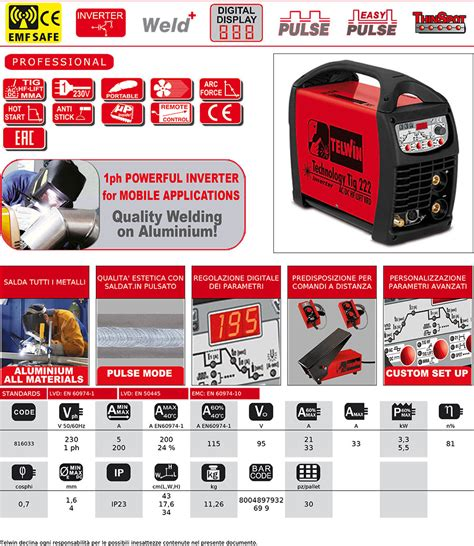 tig mma ac dc hf lift pulse welder technology tig 222 telwin 816033 ebay