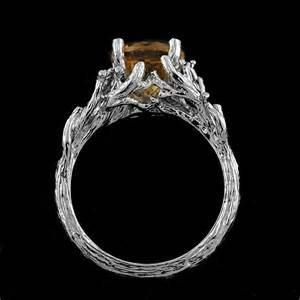 tree engagement ring citrine gold unique tree shaped crafted organic engagement ring orospot on artfire