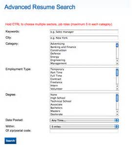 resume and search help resume search forms editing board software support