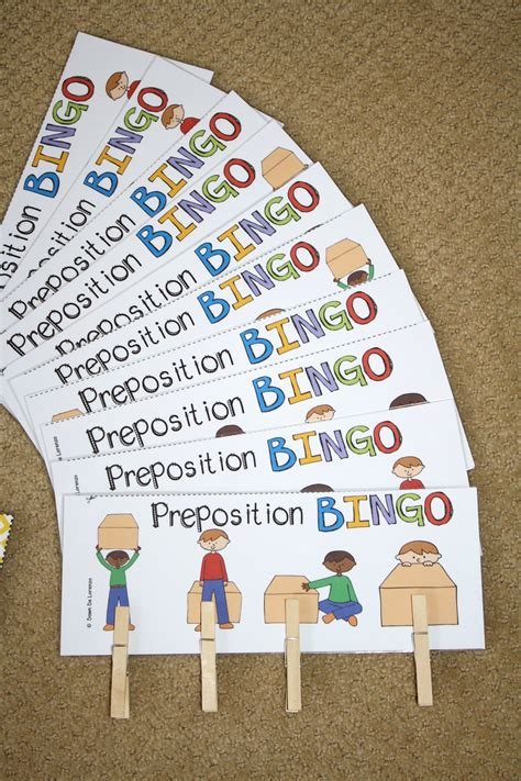 preschool prepositions preposition bingo prepositions and listening for details 900