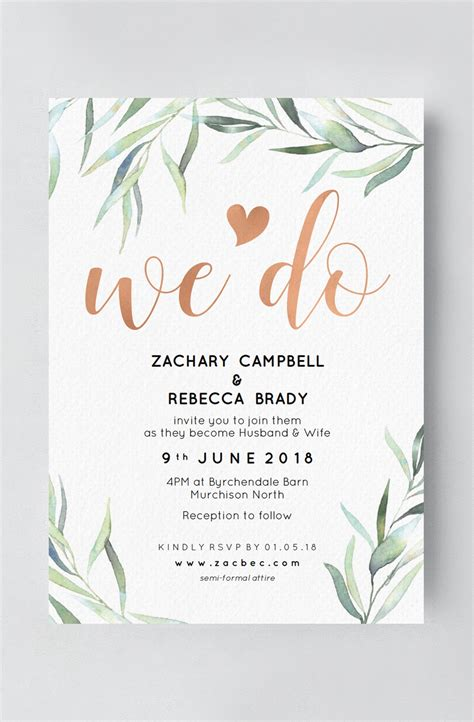 wedding invitation rose gold  greenery wedding