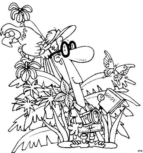 mann im regenwald ausmalbild malvorlage comics