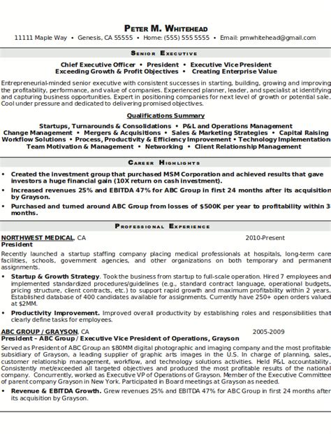 Senior Executive Resume by Resume Sle 8 Senior Executive Resume Career Resumes