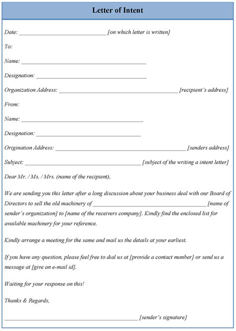 Cover Letter Of Intent Template by Letter Of Intent Template Format For Letter Of Intent