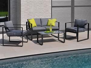 Salon Aluminium De Jardin : salon de jardin bas en aluminium mekano 2 fauteuils ~ Edinachiropracticcenter.com Idées de Décoration