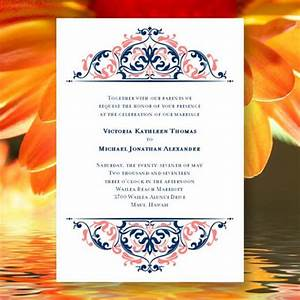 Printable wedding invitation template quotgracequot coral reef for Royal blue and coral wedding invitations