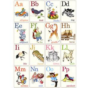 abc animal flashcards vintage style flashcards made from