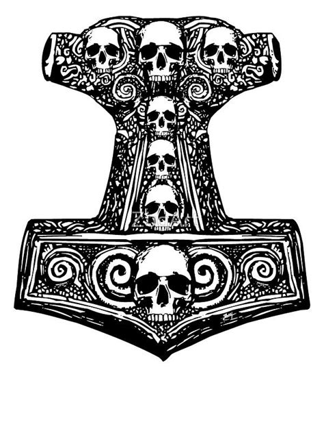 Pegatina 'Thors Hammer Black' de ZugArt   Viking tattoos   Thor hammer tattoo, Hammer tattoo