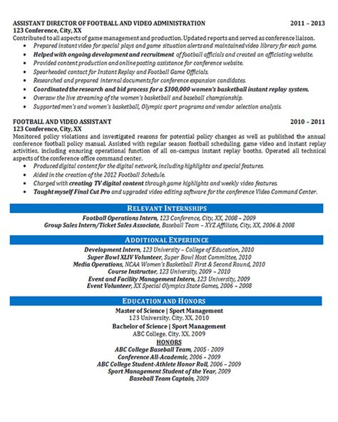 athletic director resume exle football sports