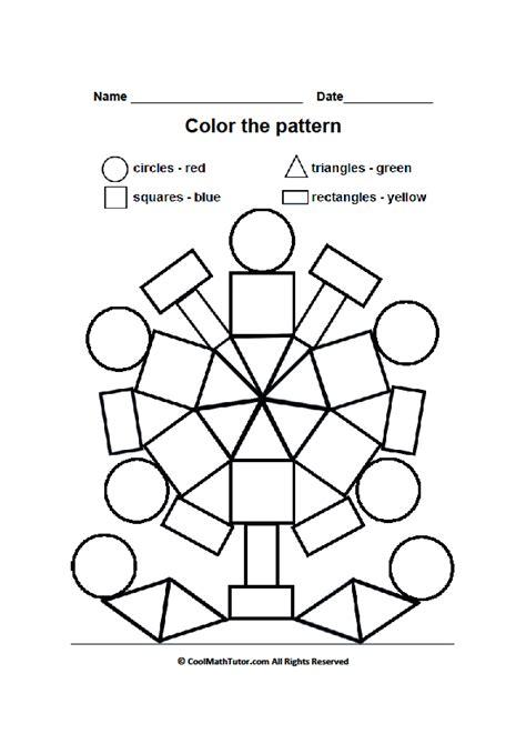 printable color by shape worksheet for preschool
