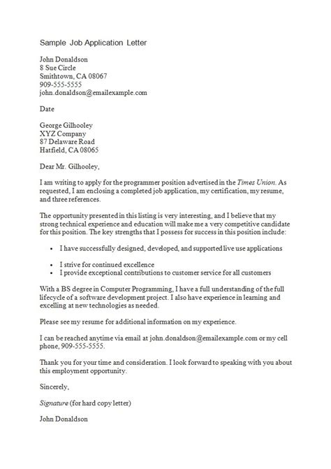 application letter sample  employment essayist provider