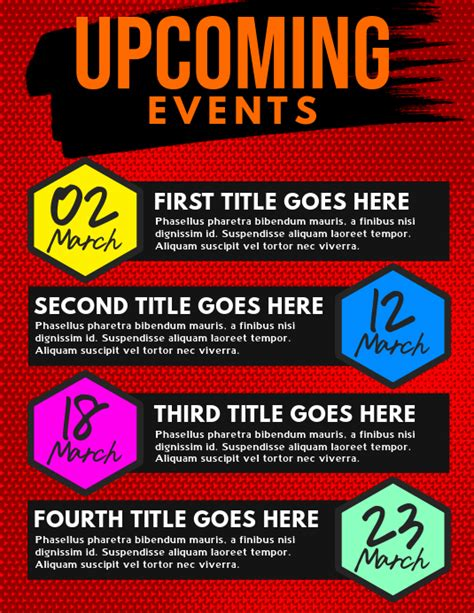 Brand your business like a real pro. Upcoming Events Flyer Template | PosterMyWall