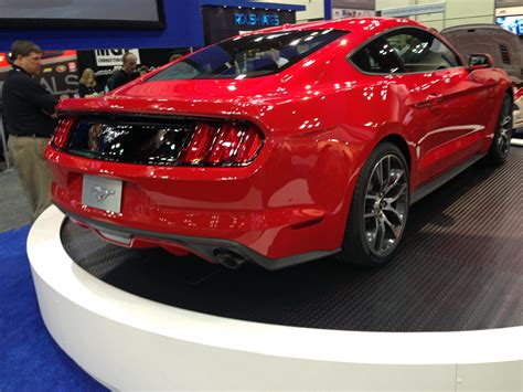 red 2015 mustang rear view global high performance