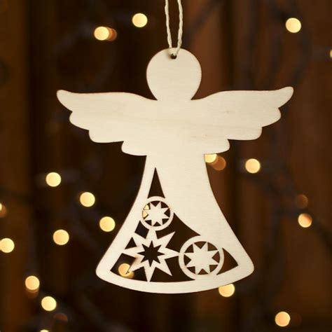 unfinished wood laser cut angel ornament christmas