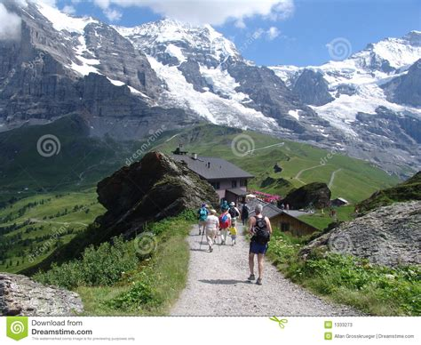 Direction Signs Alpine Hikes Alps Switzerland Stock Photo Hiking The Jungfrau Mountain Area Stock Image Image 1333273