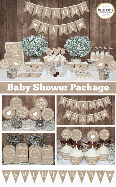 rustic baby shower decorations printable gender neutral